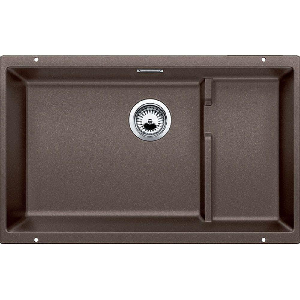 blanco precis cascade undermount granite composite 29 in  single bowl kitchen sink in cafe brown blanco precis cascade undermount granite composite 29 in  single      rh   homedepot com