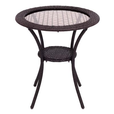 Brown Round Wicker Outdoor Coffee Table