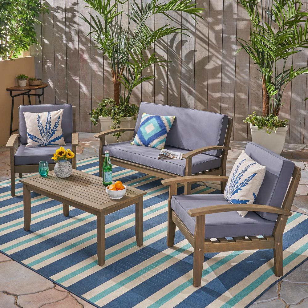 Noble House Peyton Gray 4-Piece Wood Patio Conversation Set with Dark Gray Cushions