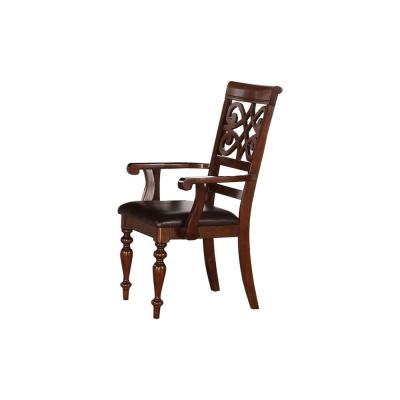 41 in. H Cherry Brown Wooden Side Chair with Leatherette Seat (Set of 2)