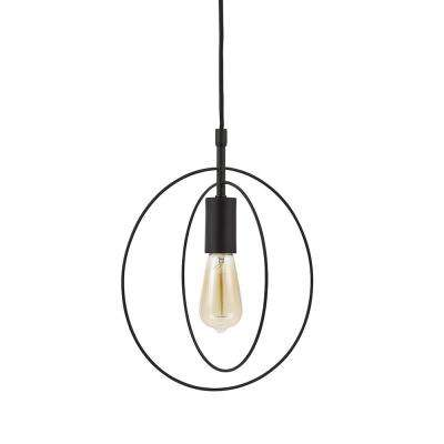 13.25 in. Bronze Mid-Century Modern Swag Pendant and LED Bulb
