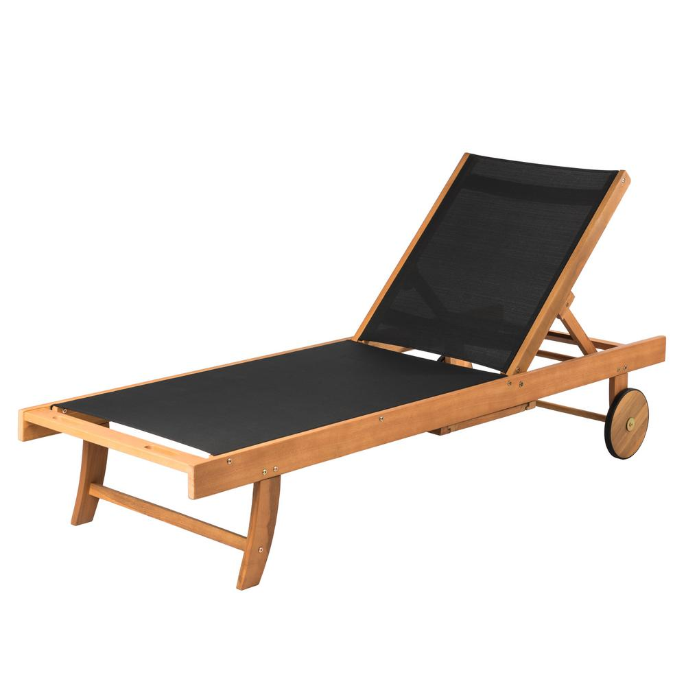 Sanur Sun Natural Adjustable Wood Outdoor Lounge Chair in Black