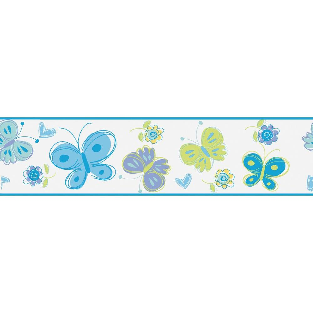 null 6 in. W x 10 in. H Butterfly Garden Blue Border Sample