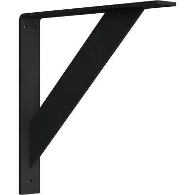 2 in. x 14 in. x 14 in. Steel Hammered Black Traditional Bracket