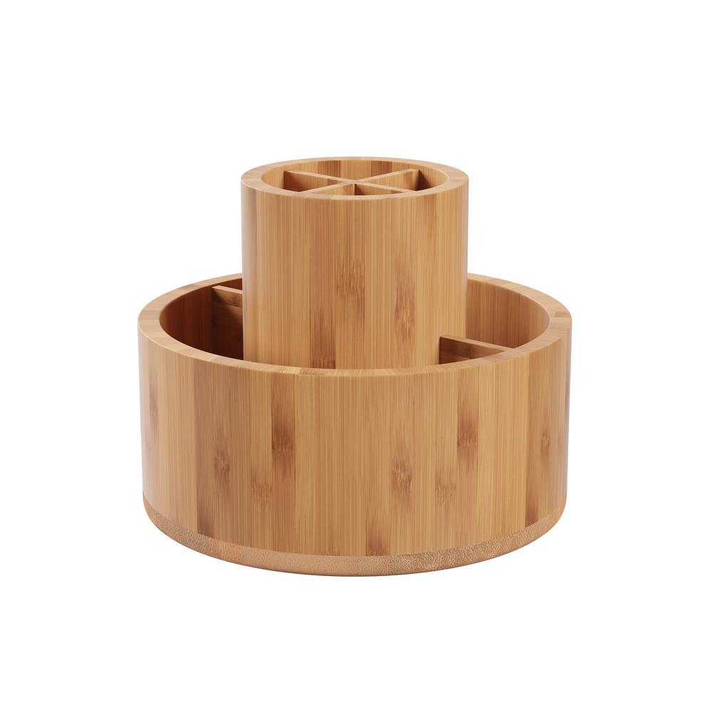 Rotating Bamboo Desk Organizer