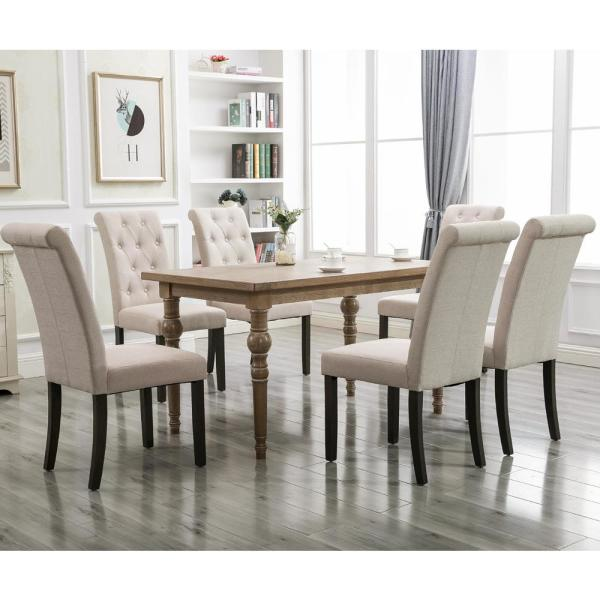 Merax Beige Noble And Elegant Solid Wood Tufted Dining Chair Set Of 2 Wf034953aaa The Home Depot