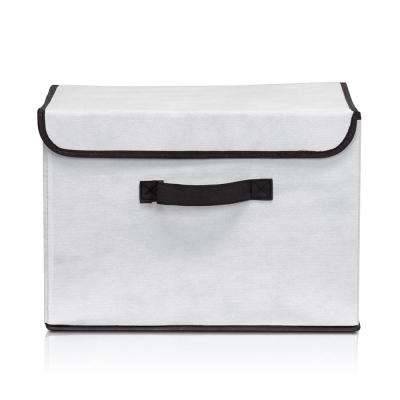 Non-Woven Fabric Beige Storage Bin with Lid