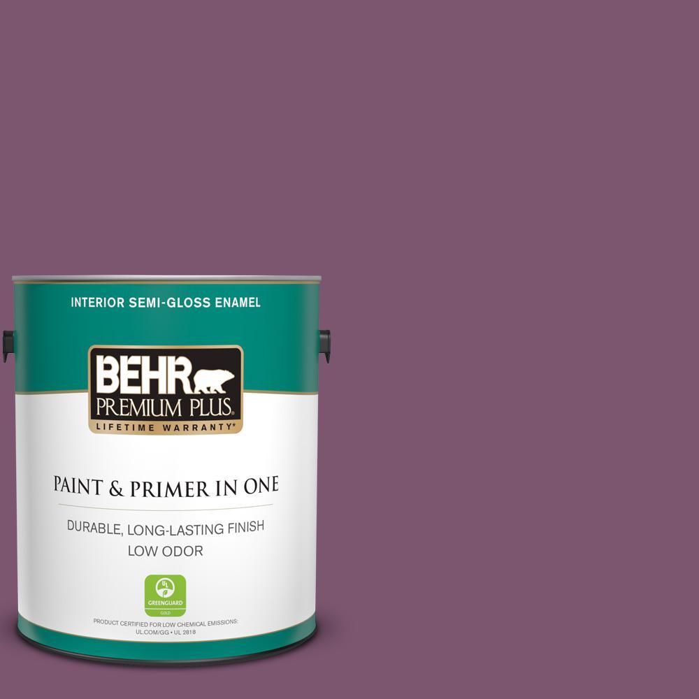 BEHR Premium Plus 1 gal  #M110-7 Euphoric Magenta Semi-Gloss Enamel Low  Odor Interior Paint and Primer in One