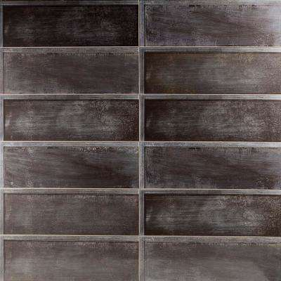 Piston Ribbed Black 8 in. x 24 in. x 7mm Polished Ceramic Wall Tile (12 pieces / 15.49 sq. ft. / box)