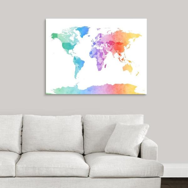 Greatbigcanvas Watercolor Map Of The World Map By Michael Tompsett Canvas Wall Art 2288842 24 40x30 The Home Depot