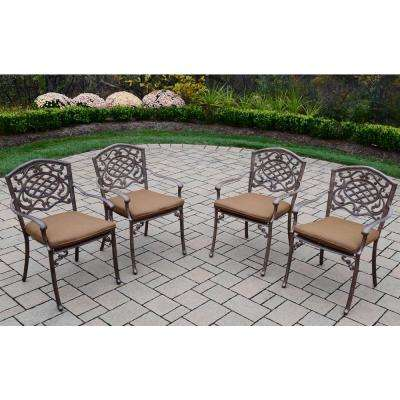 Mississippi Aluminum Outdoor Dining Chair with Sunbrella Brown Cushion (4-Pack)
