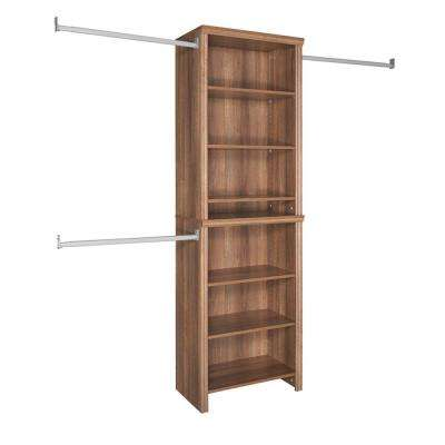 Impressions 14.57 in. D x 25.12 in. W x 82.46 in. H Walnut Standard Wood Closet System Kit