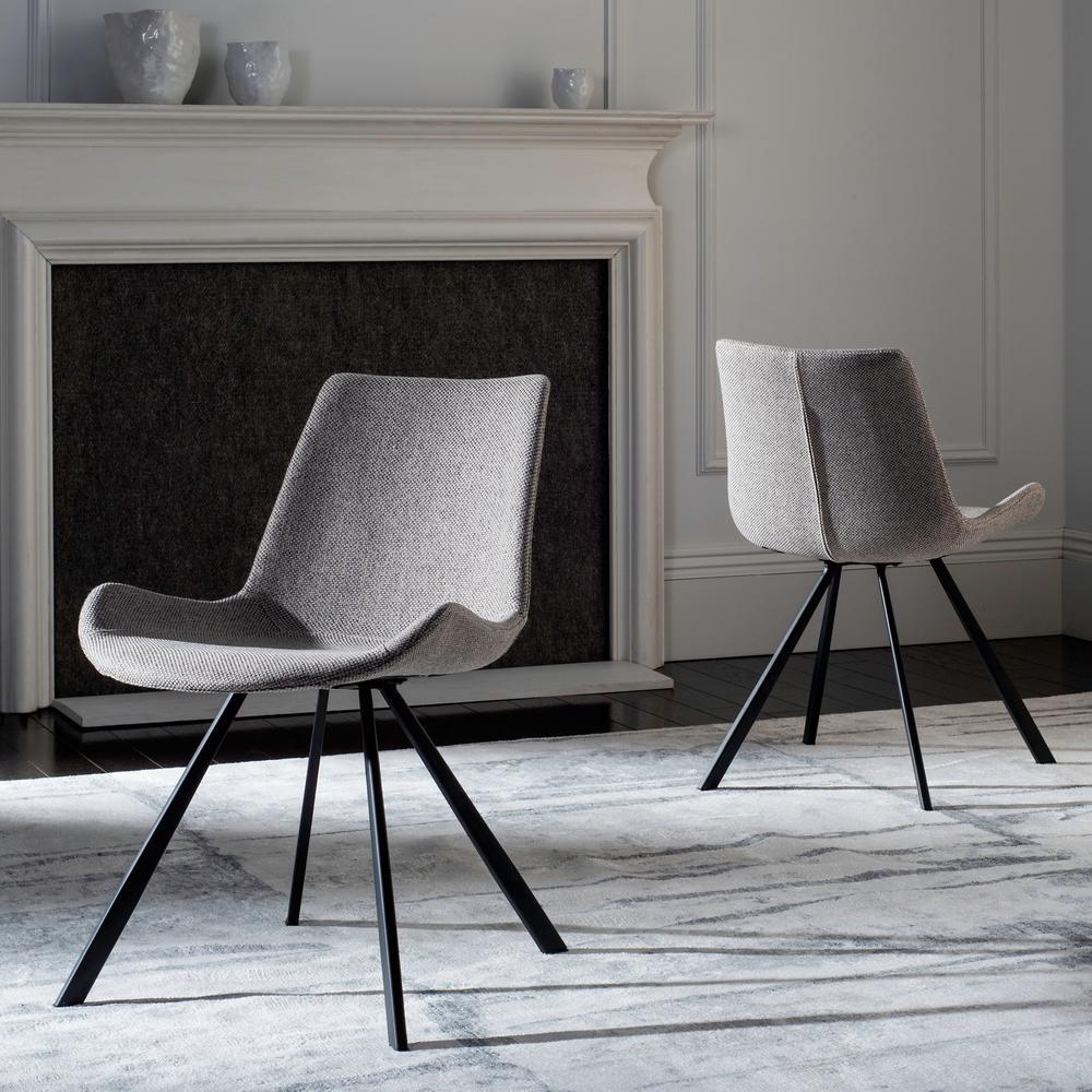 Terra Light Grey/Black Polyester Dining Chair (Set of 2)