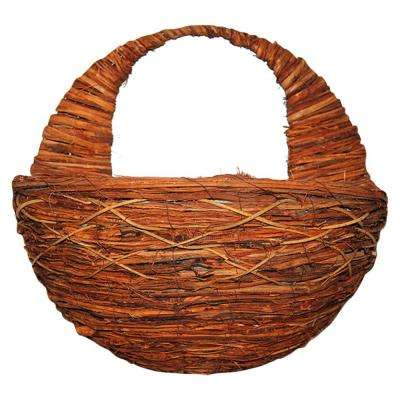 16 in. W x 16 in. H x 9 in. D Brown Rattan Twig Wall Planter