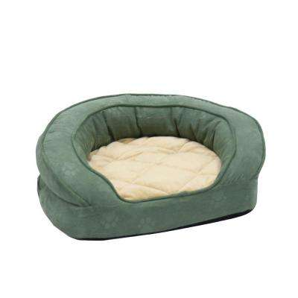 Deluxe Ortho Bolster Medium Green Paw Print Sleeper Dog Bed