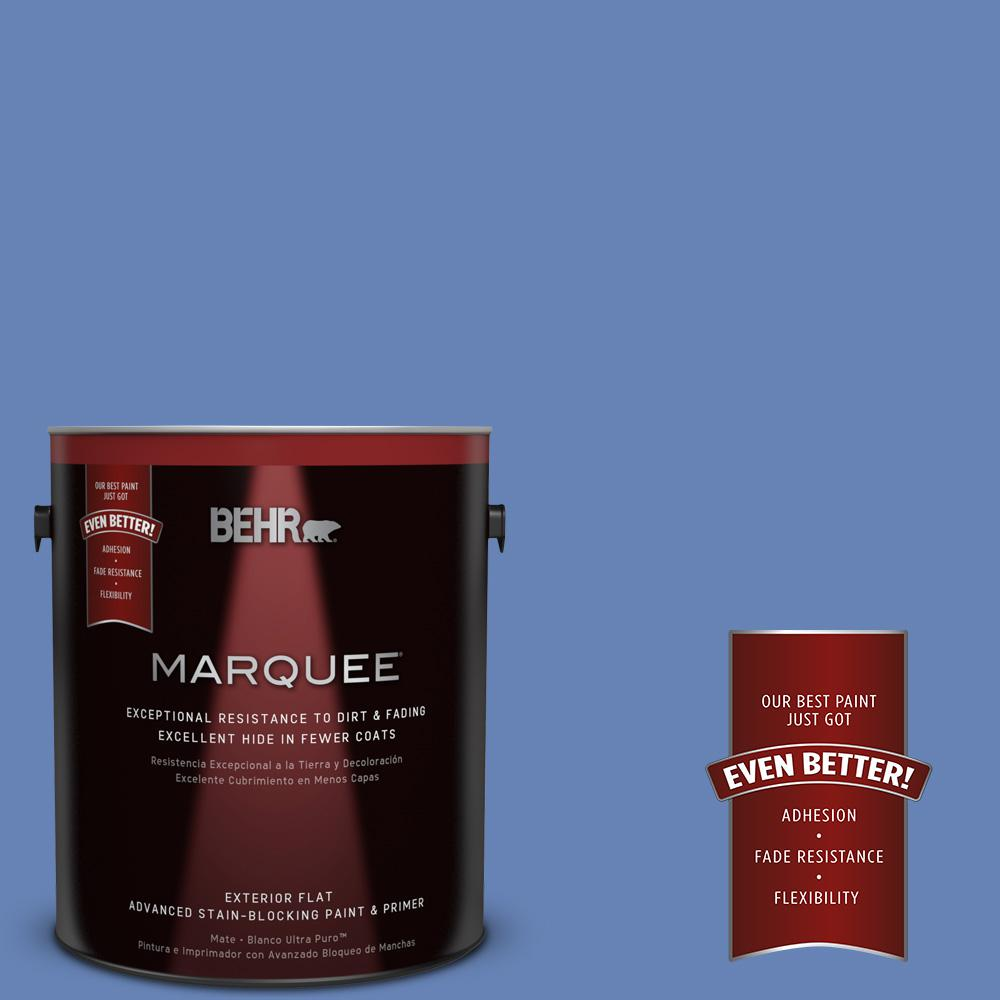 BEHR MARQUEE 1-gal. #PPU15-6 Neon Blue Flat Exterior Paint