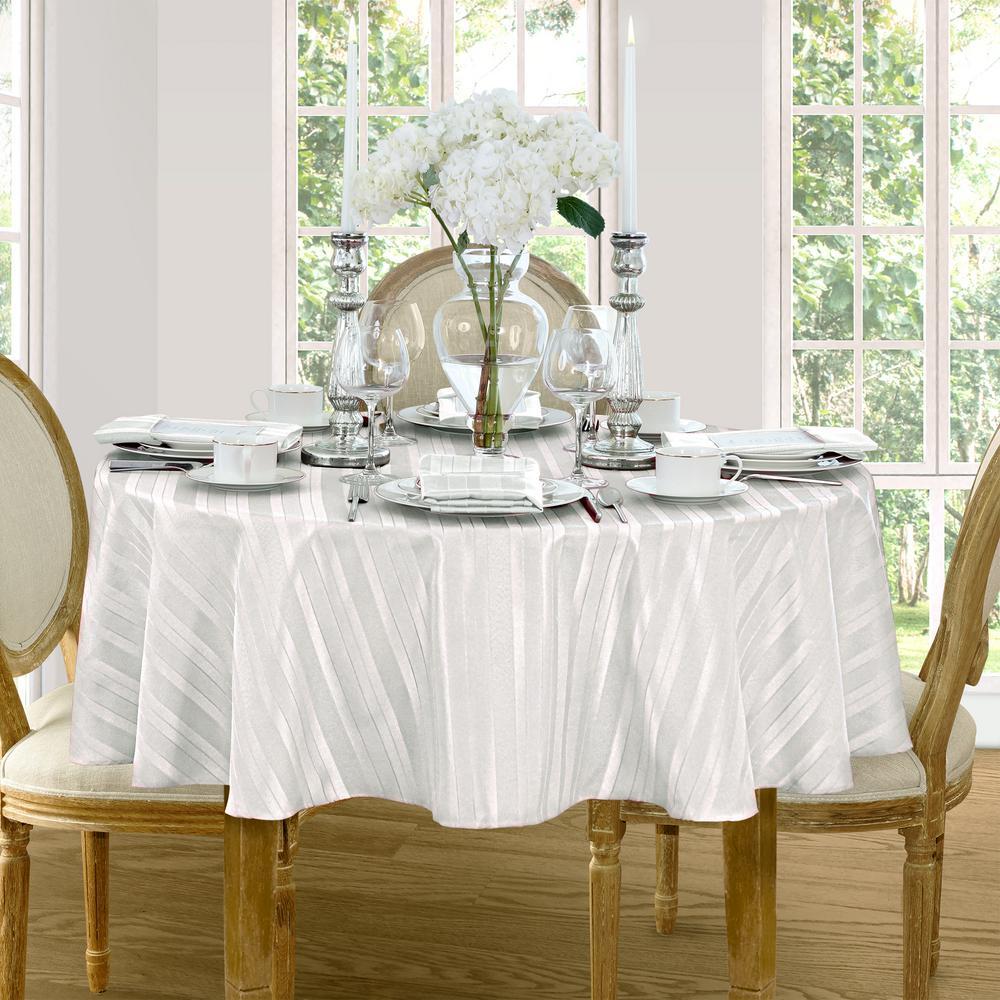 70 in. Round White Elrene Denley Stripe Damask Fabric Tablecloth