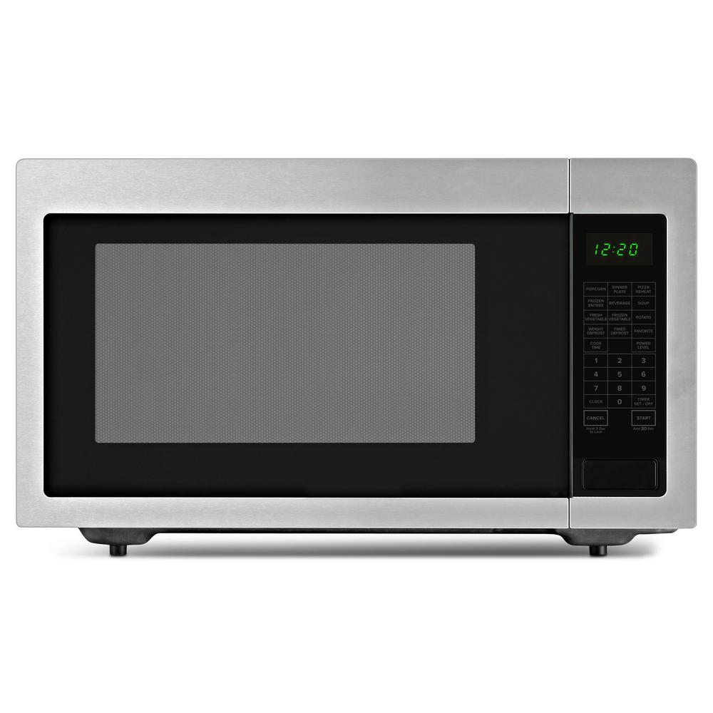 Amana 2 Cu Ft Countertop Microwave In Black On Stainless With Add 30 Seconds Option