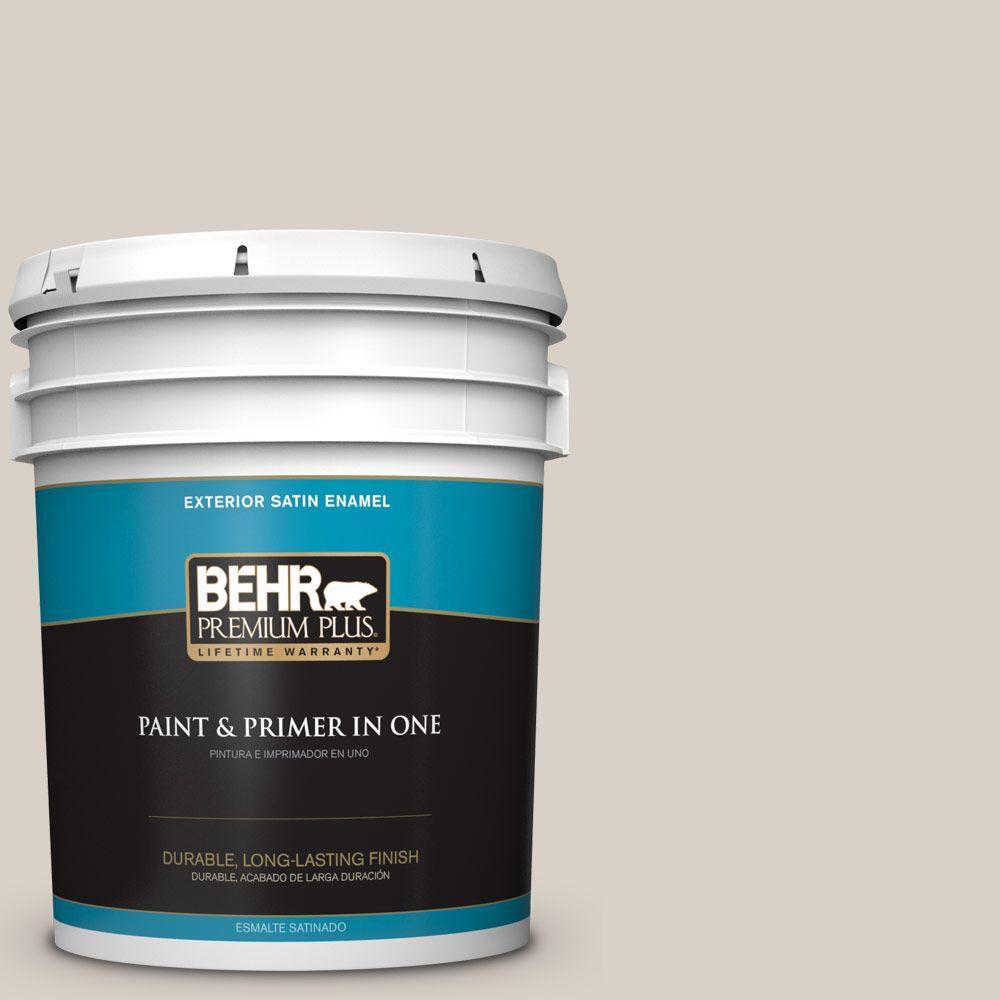 BEHR Premium Plus 5-gal. #ECC-18-2 Pebbled Shore Satin Enamel Exterior Paint