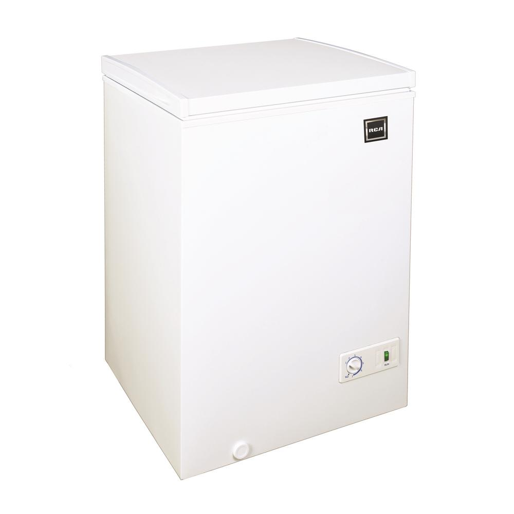 Rca 3 5 Cu Ft Chest Freezer In White Rfrf350 White The Home Depot