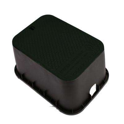 15 in. x 21 in. x 12 in. Deep Rectangular Valve Box in Black Body Black Lid
