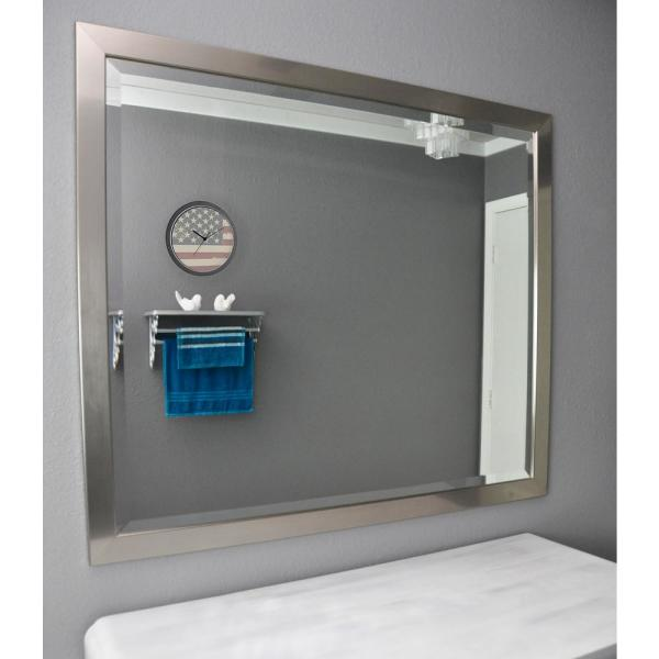 40 in. x 34 in. Silver Petite Rounded Beveled Floor Wall Mirror