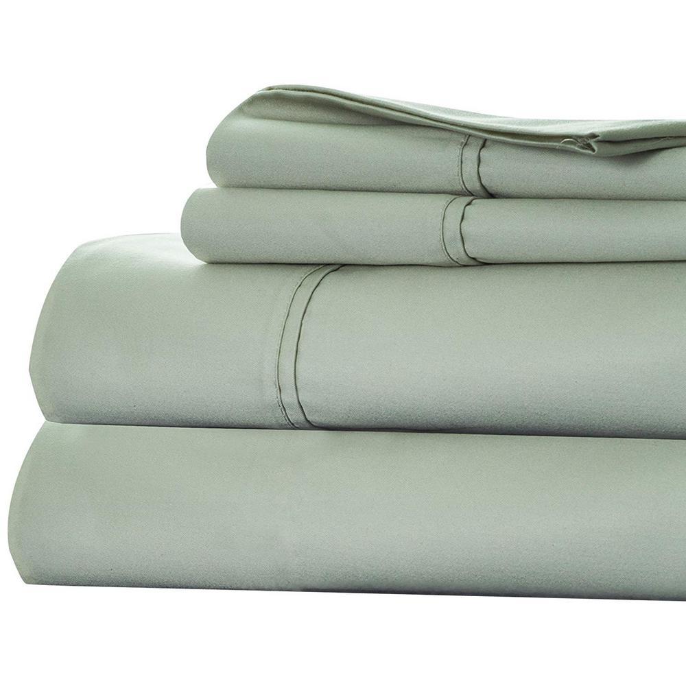 Green 1000 Count Cotton Sateen Queen Sheet Set (4-Piece)