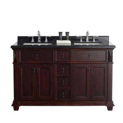 Kathy 60 in. W x 22 in. D Vanity in Chocolate with a Granite Vanity Top in Black with White Basins