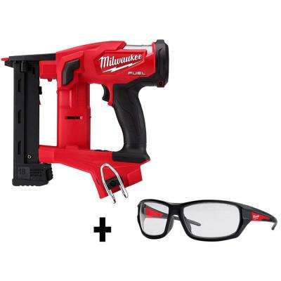 M18 FUEL 1/4 in. 18-Volt 18-Gauge Lithium-Ion Brushless Cordless Narrow Crown Stapler with Safety Clear Glasses