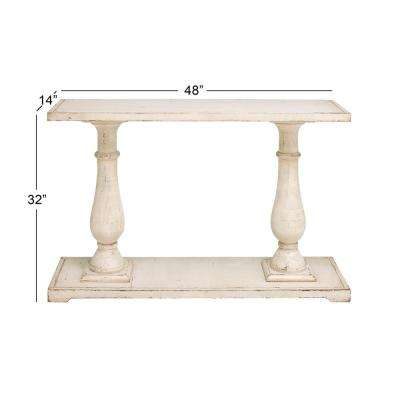 Antique White Wood Rectangular Console Table