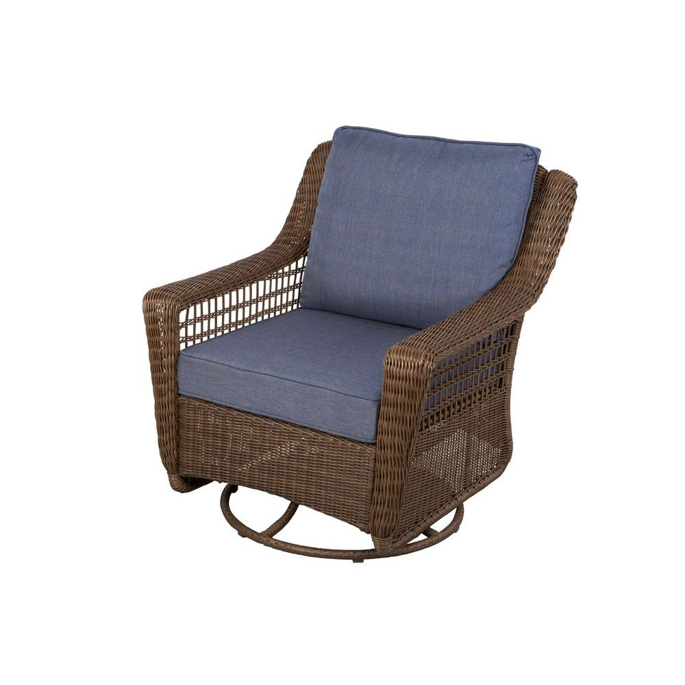 hampton bay spring haven brown all weather wicker outdoor patio swivel rocking chair with sky blue cushions