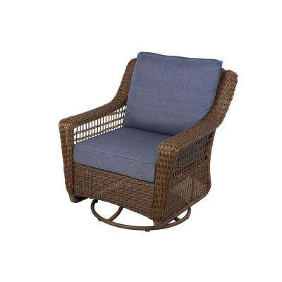 Spring Haven Brown All Weather Wicker Outdoor Patio Swivel Rocking Chair With Sky Blue Cushions