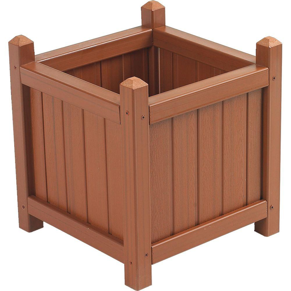 Cal Designs 16 in. Redwood Crown Planter-DISCONTINUED