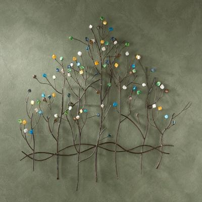 32.5 in.x 32 in. Metal Gemstone Forest Wall Sculpture