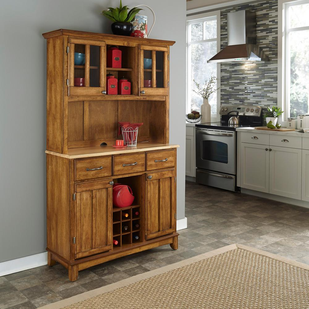 Cottage Oak And Natural Buffet With Hutch