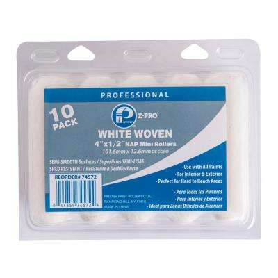4 in. x 1/2 in. 10-Piece White Woven Mini Roller (20-Pack)