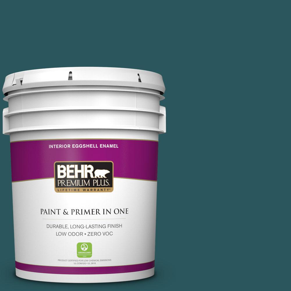 BEHR Premium Plus 5 gal. #MQ6-1 Ocean Abyss Eggshell Enamel Zero VOC Interior Paint and Primer in One