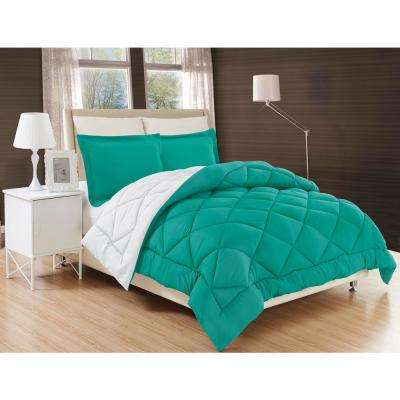 Down Alternative Turquoise and White Reversible Full/Queen Comforter Set
