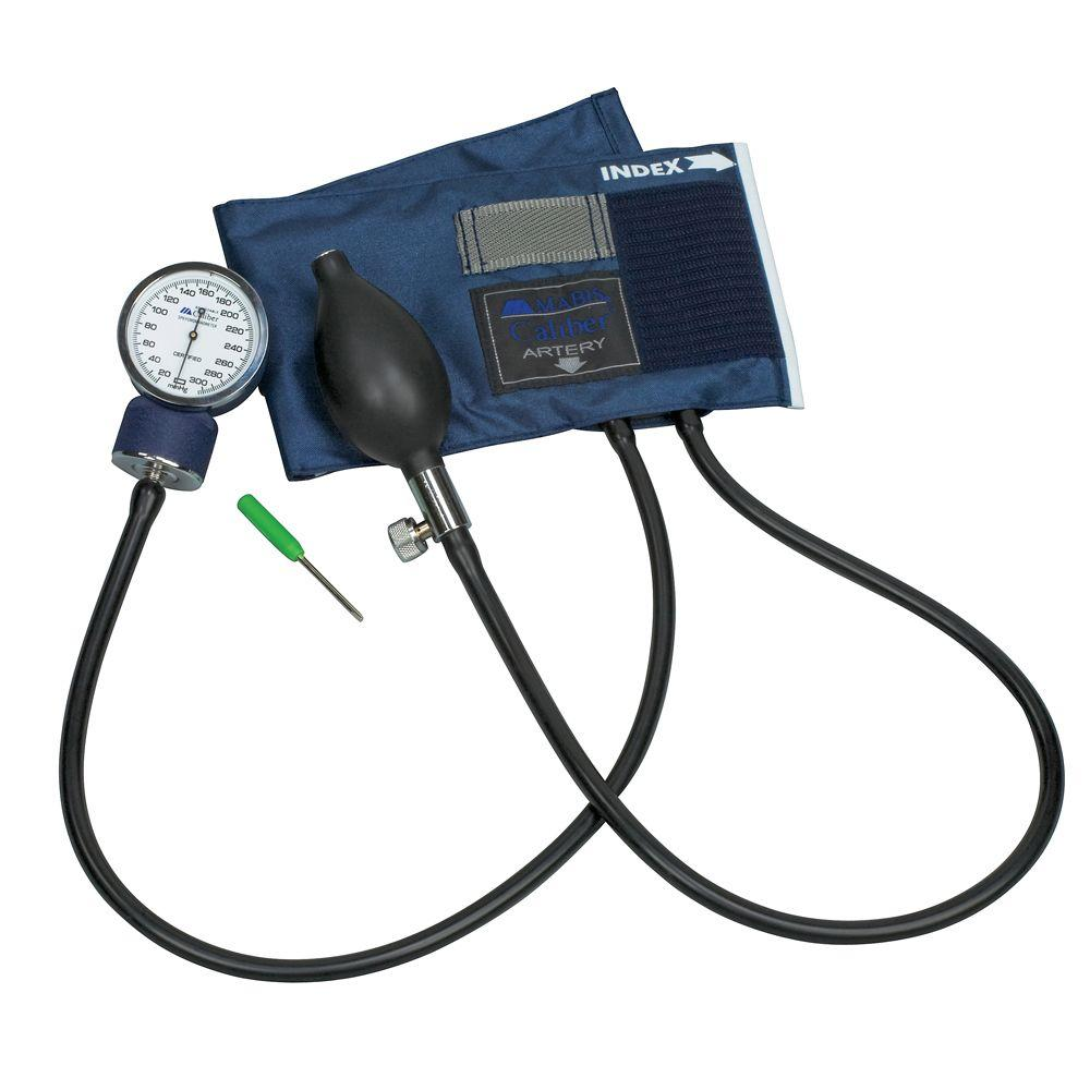 Caliber Adjustable Aneroid Sphygmomanometers with Blue Nylon Cuff for Adult