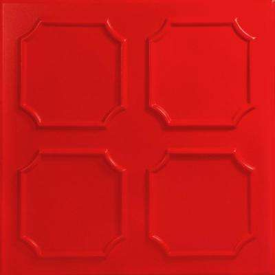Bostonian 1.6 ft. x 1.6 ft. Foam Glue-up Ceiling Tile in Red