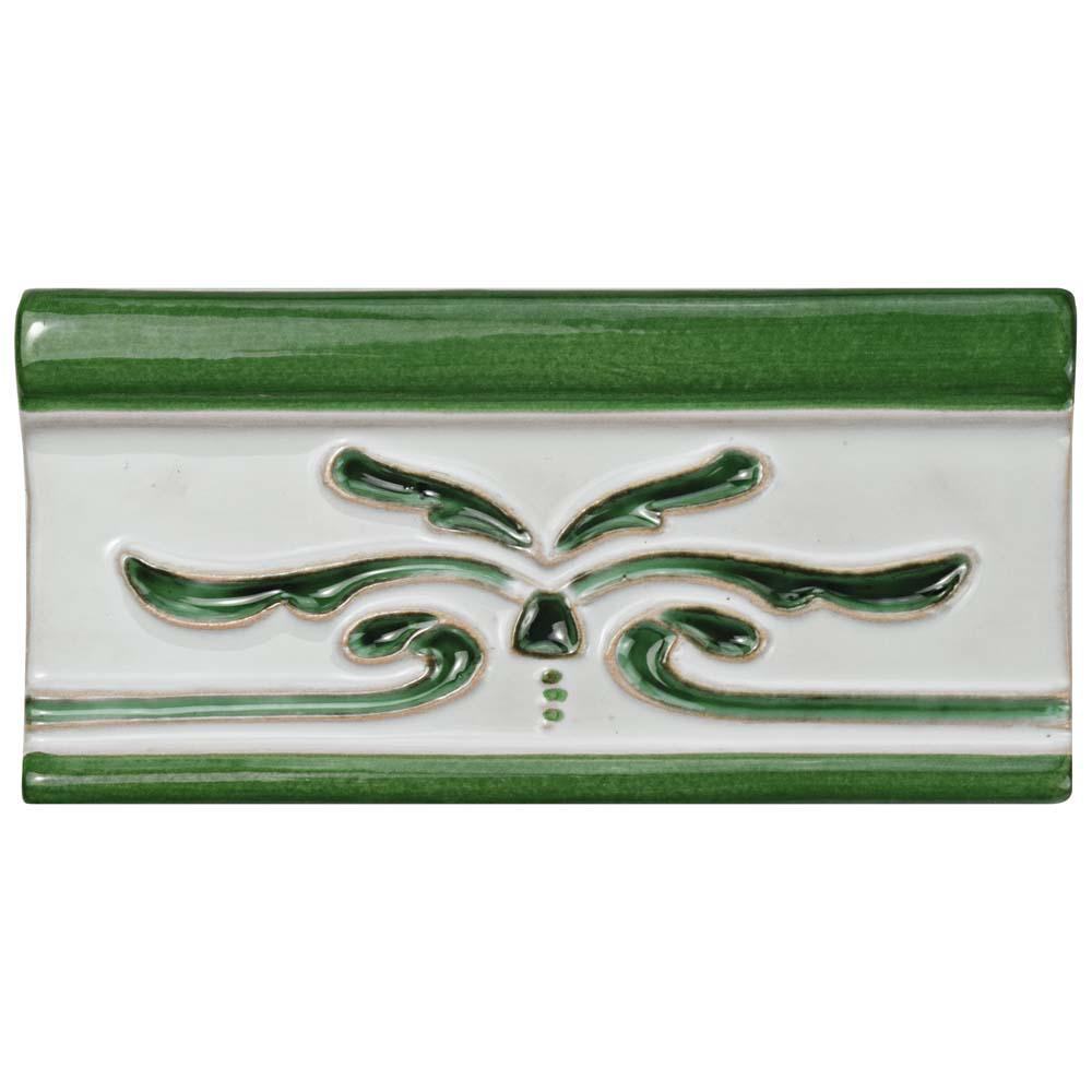 Novecento Cenefa Evoli Verdin 2-5/8 in. x 5-1/8 in. Ceramic Wall Trim Tile