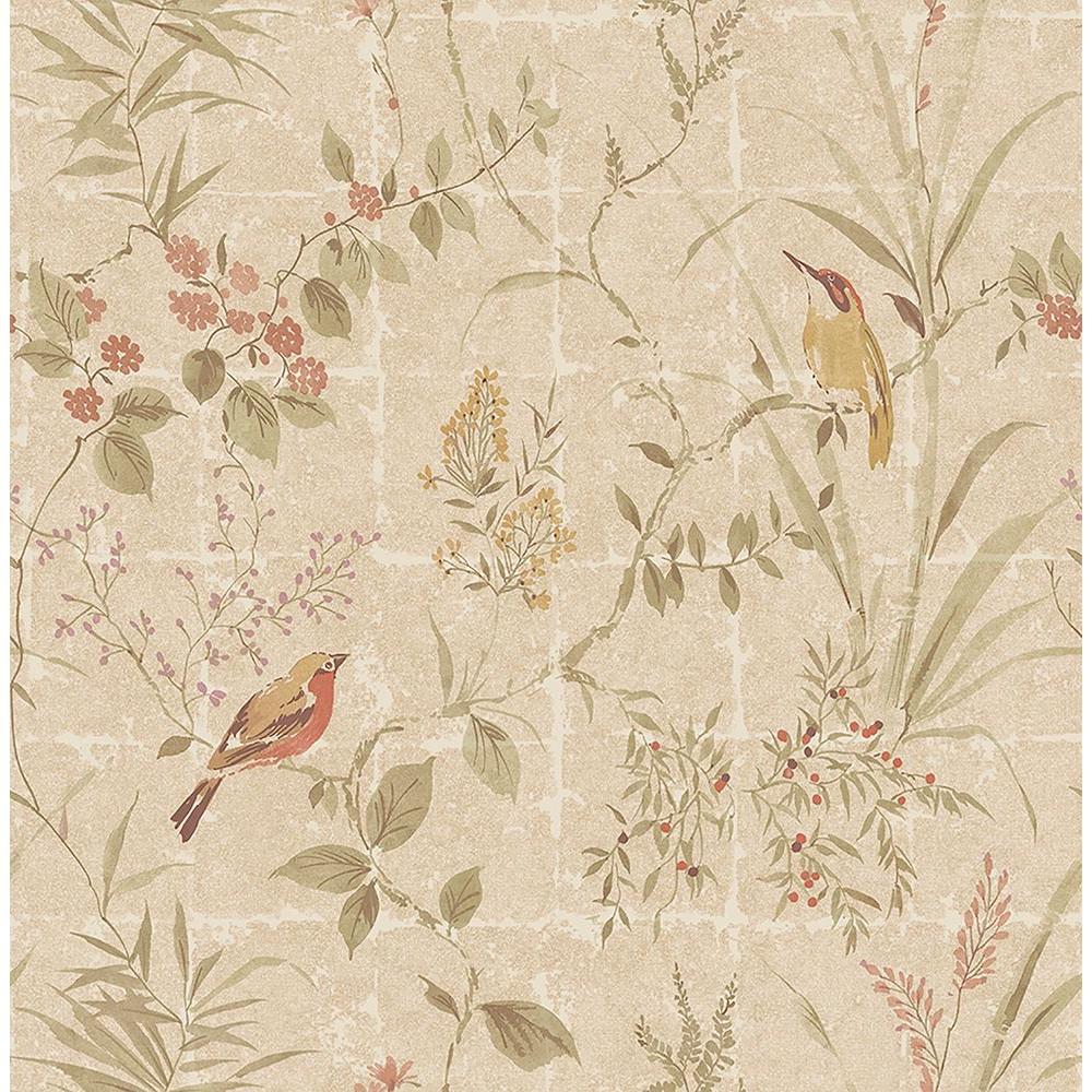 Beacon House Imperial Beige Garden Chinoiserie Wallpaper Sample 2669-21701SAM