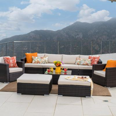 Santa Rosa Multi Brown 9-Piece Wicker Outdoor Sectional Set with Beige Cushions