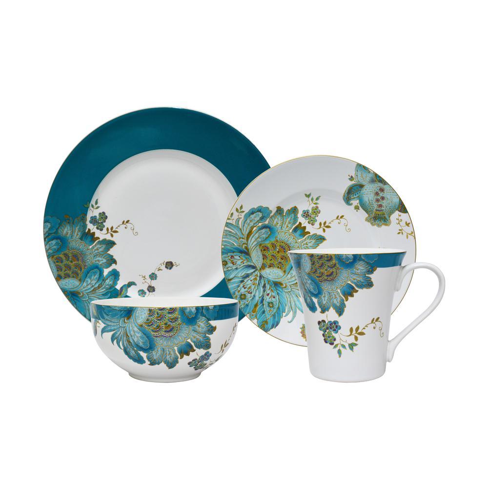 222 Fifth Eliza Teal Dinnerware Set (16-Piece) 1014TL803L1G97