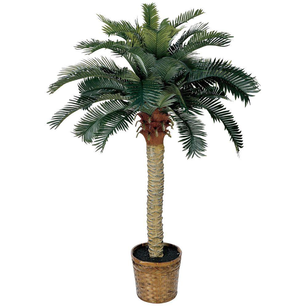 Nearly natural 4 ft sago palm silk tree 5043 the home depot for Artificial plants for decoration