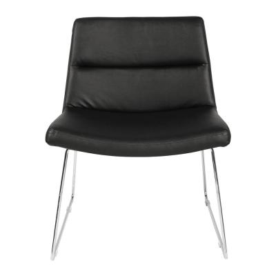 Black Faux Leather with Chrome Sled Base Thompson Chair