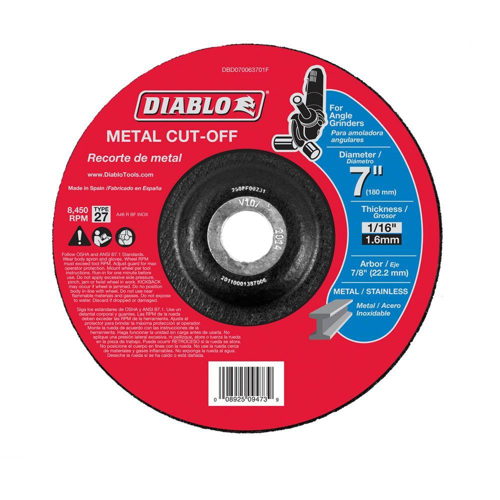 Diablo 7 In X 1 16 In X 7 8 In Metal Cut Off Disc With Type 27 Depressed Center Dbd070063701f The Home Depot