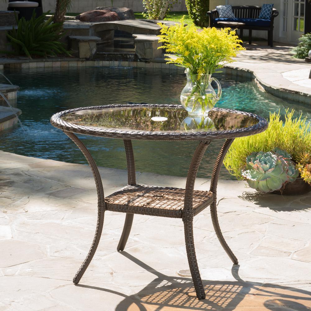 San Pico Brown Wicker Outdoor Bistro Table