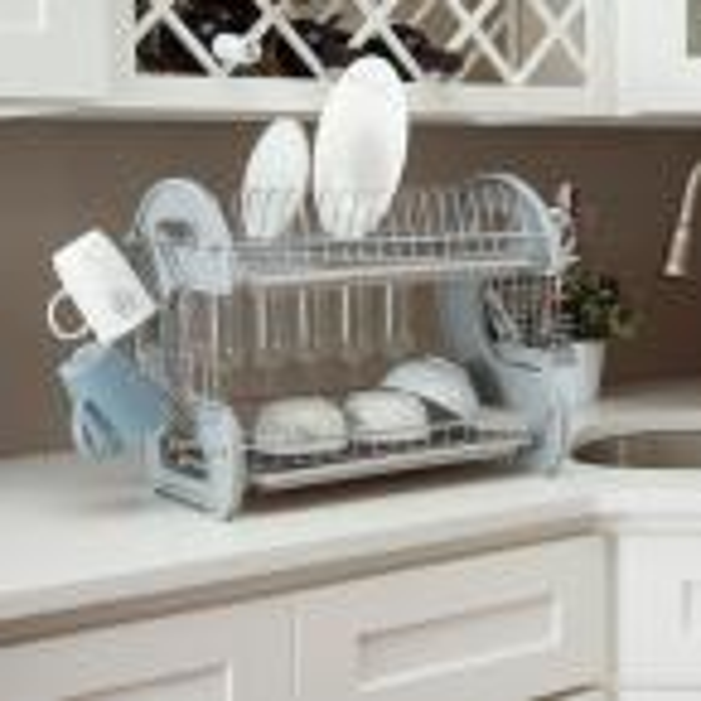 Grey S Shape 2-Tier Dish Rack
