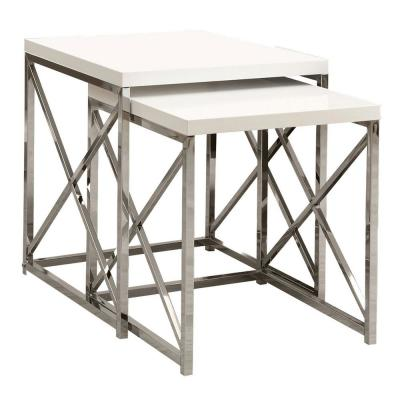 21.25 in. Glossy White Contemporary Accent 2-Piece Nesting End Tables